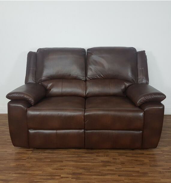 Brown 2 Seat Recliner - front view
