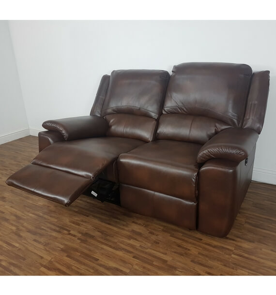 Brown 2 Seater Recliner Sofa with reclining seat