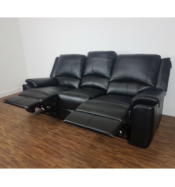 Black 3 Seater Recliner Sofa with 2 reclining seats