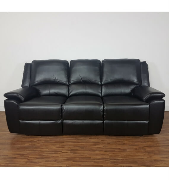 Black Leather Air 3 Seater Recliner Sofa front view