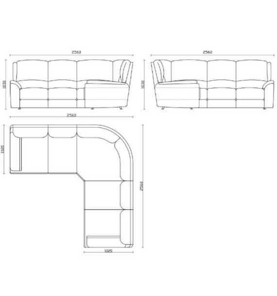Chelsea Leather Air Recliner Corner Sofa diagram