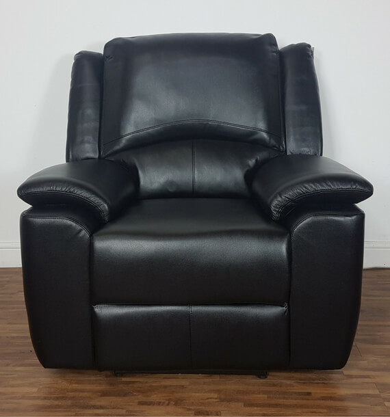 Black Electric Reclining Armchair lower recline position