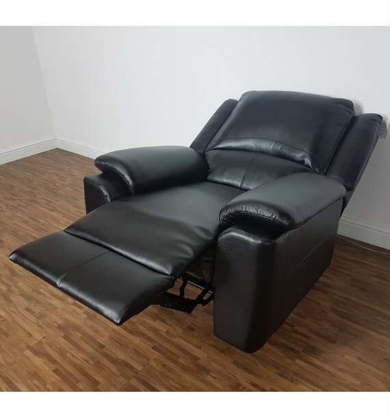 Black Leather Air Armchair lower recline position
