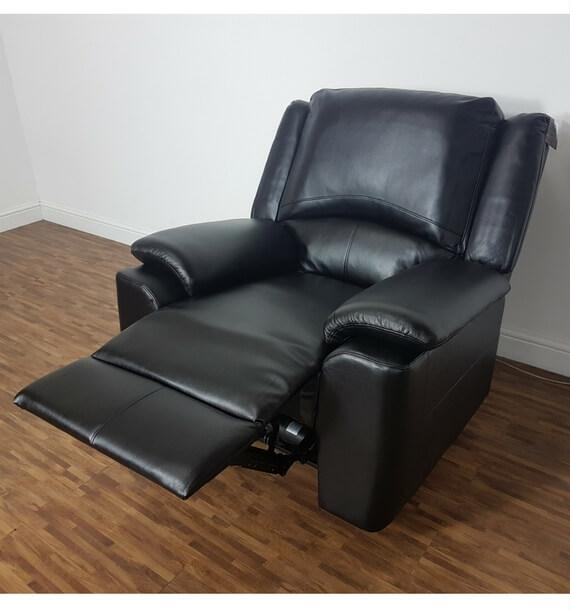 Chelsea Reclining Armchair - Black higher recline position