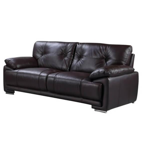 Brooklyn Leather Air 3 Seater Sofa - Dark Brown
