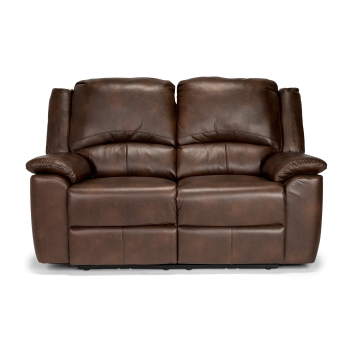 Chelsea Leather Air 2 Seater Electric Recliner Sofa - Brown front view