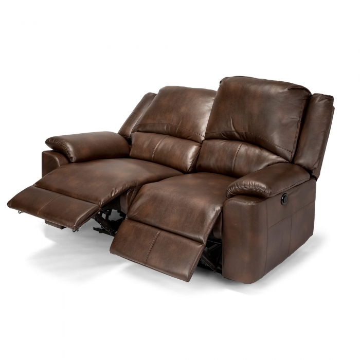 Chelsea Leather Air 2 Seater Electric Recliner Sofa - Brown