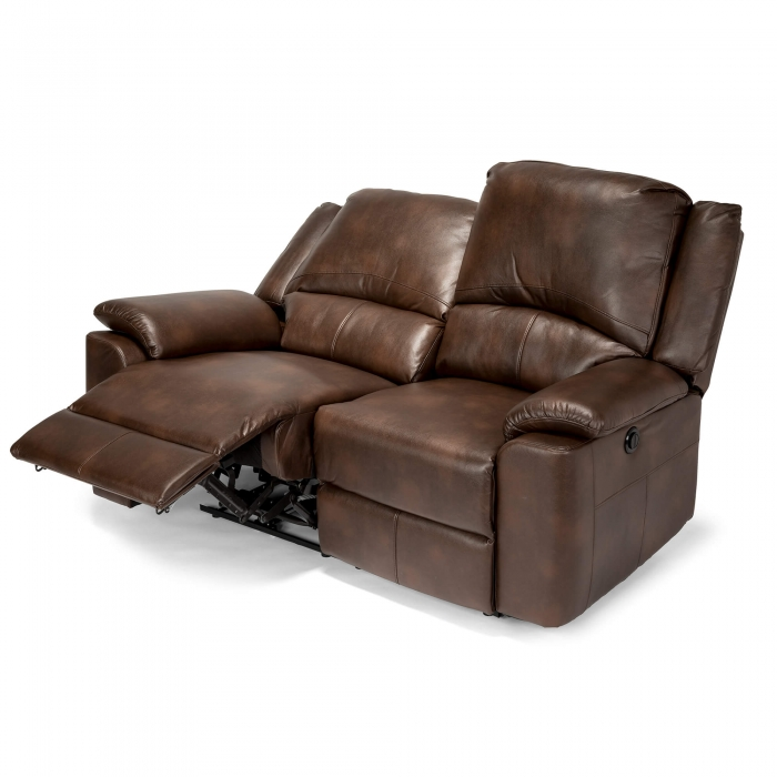Chelsea Leather Air 2 Seater Electric Recliner Sofa - Brown reclining view 2