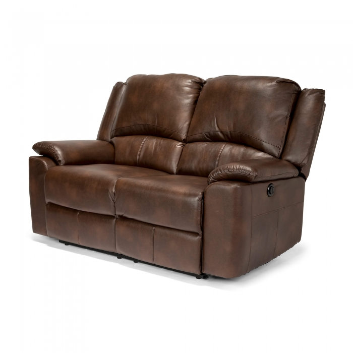 Chelsea Leather Air 2 Seater Electric Recliner Sofa - Brown side view