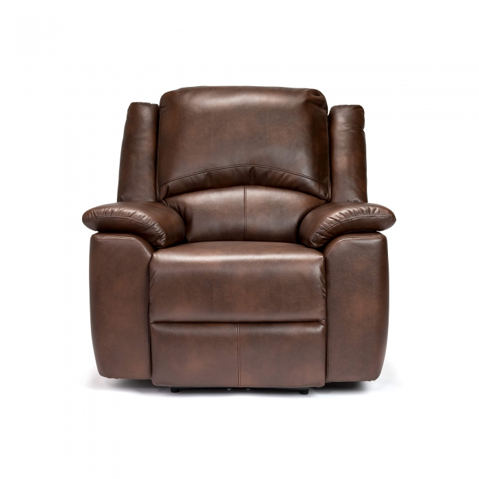 Chelsea Leather Air Electric Reclining Armchair - Brown front view