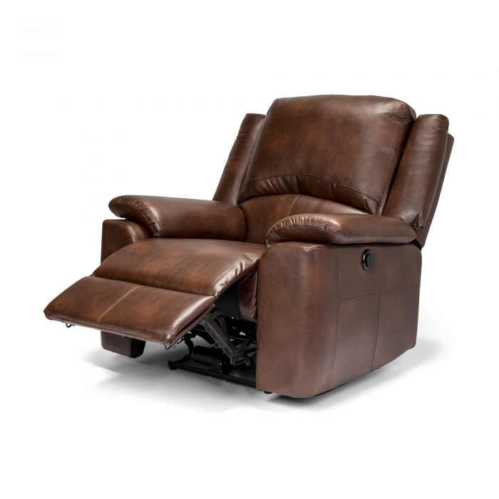Chelsea Leather Air Electric Reclining Armchair - Brown