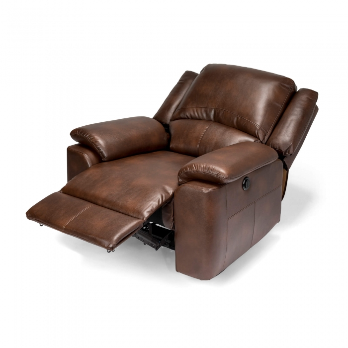 Chelsea Leather Air Electric Reclining Armchair - Brown reclining view