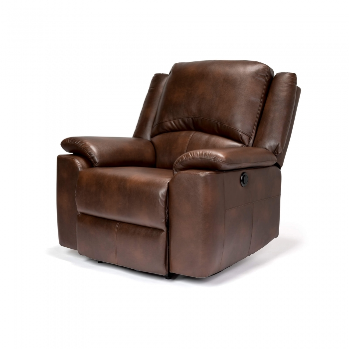 Chelsea Leather Air Electric Reclining Armchair - Brown side view