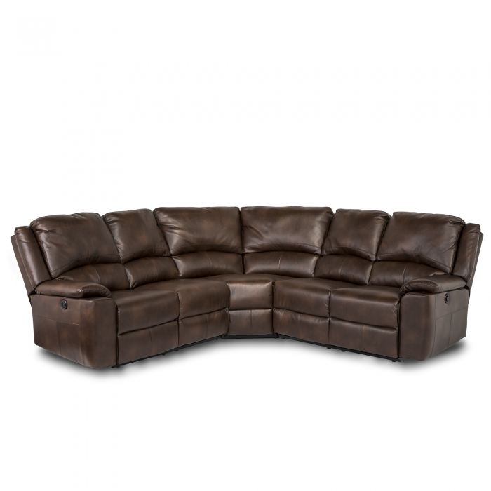 Chelsea Leather Air Electric Recliner Corner Sofa - Brown front view
