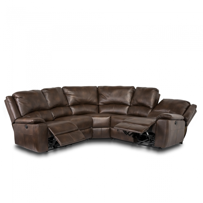 Chelsea Leather Air Electric Recliner Corner Sofa - Brown reclining view