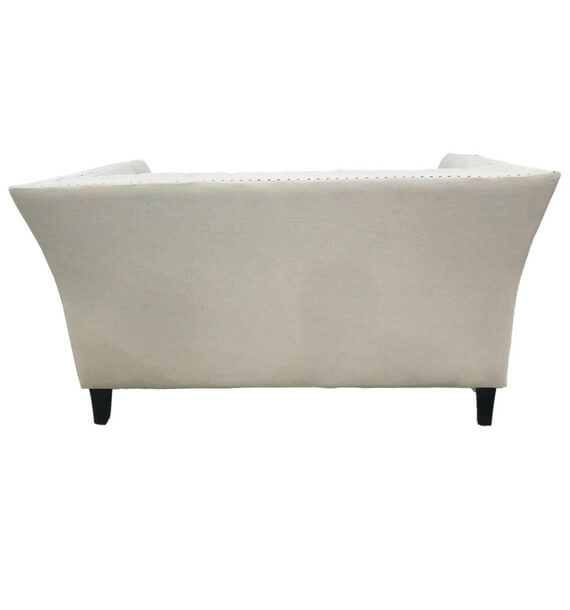 Chloe Studded Fabric 2 Seater Sofa - Oatmeal back view