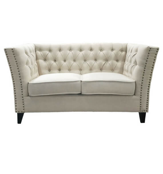 Chloe Studded Fabric 2 Seater Sofa - Oatmeal front view