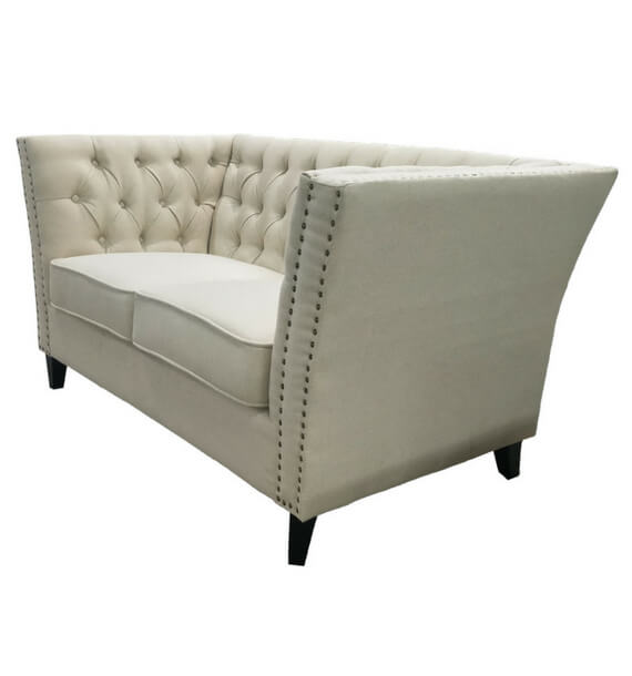 Chloe Studded Fabric 2 Seater Sofa - Oatmeal