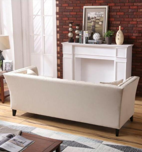 Chloe Studded Fabric 3 Seater Sofa - Oatmeal back view