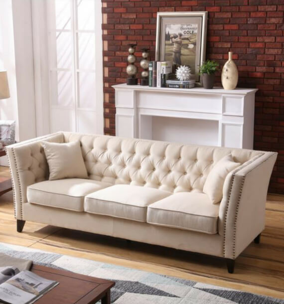 Chloe Studded Fabric 3 Seater Sofa - Oatmeal