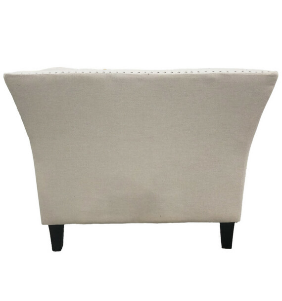 Chloe Studded Fabric Armchair - Oatmeal back view