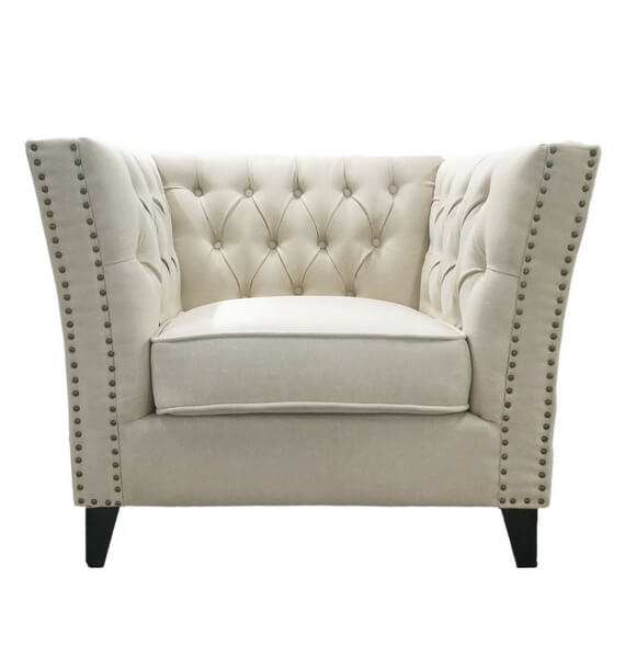 Chloe Studded Fabric Armchair - Oatmeal front view