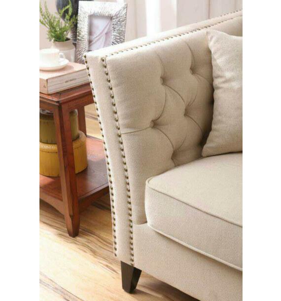 Chloe Studded Fabric Sofa - Oatmeal close-up view