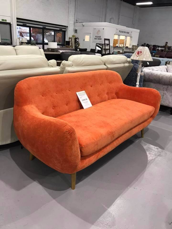 Orange Sofa at our Dagenham Store
