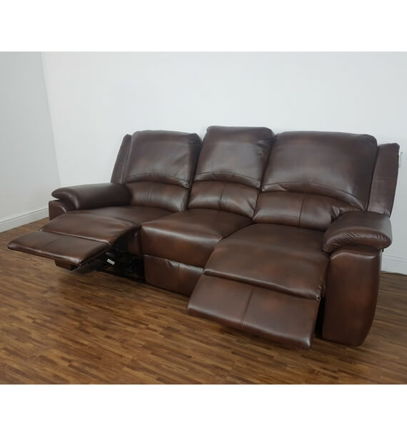 Brown 3 Seater Sofa Showing 2 Reclining Seats