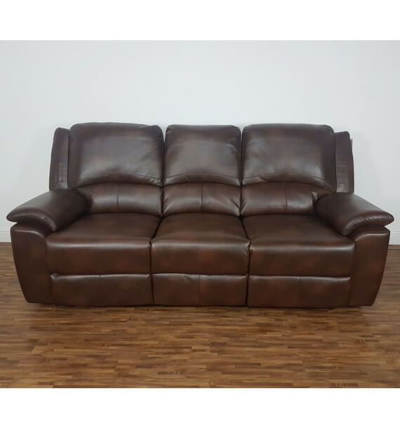 Brown 3 Seat Recliner - front view