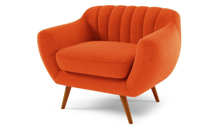 Armchair with Ibiza orange coloured upholstery