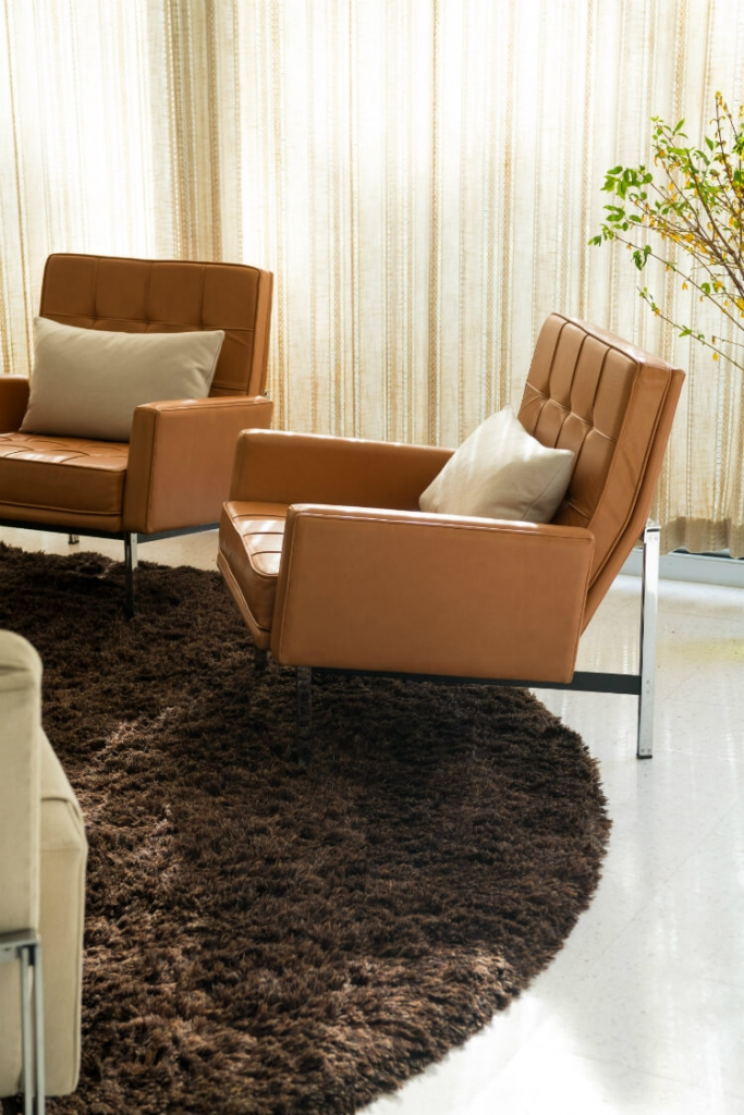 Closeup of mid-century modern armchairs