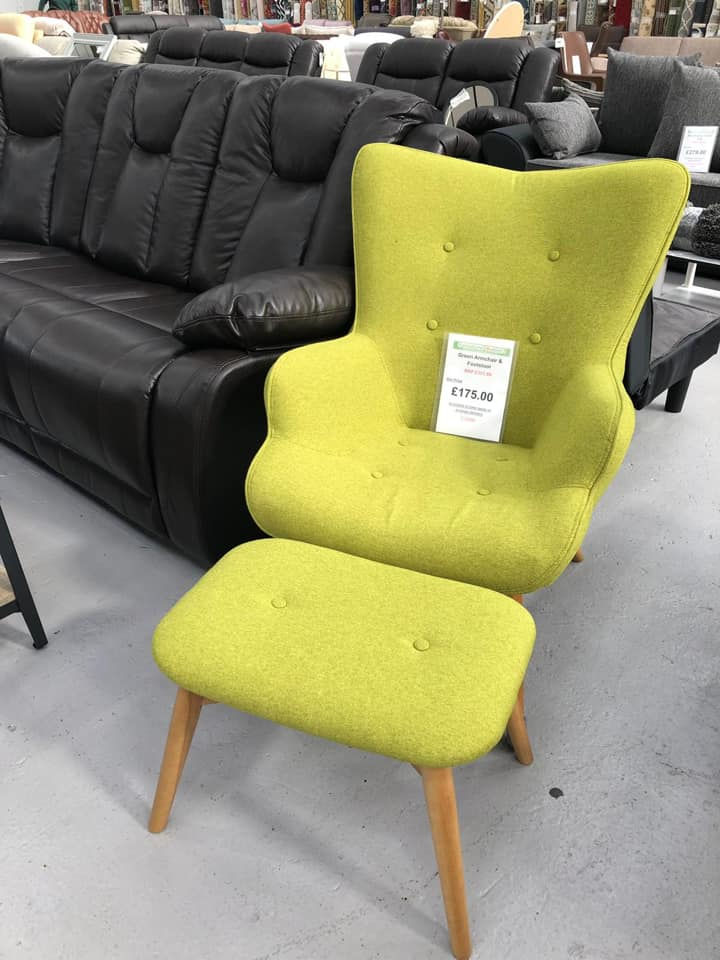 Lime Green Wingback Chair & Footstool