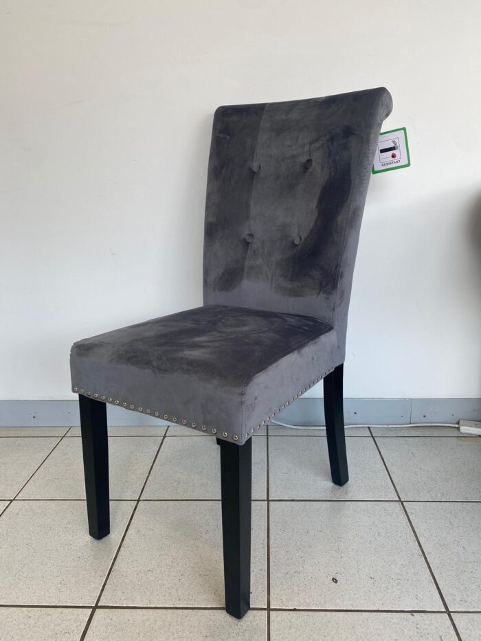 Cabrini Velvet Dining Chair With Black Legs - Grey front view