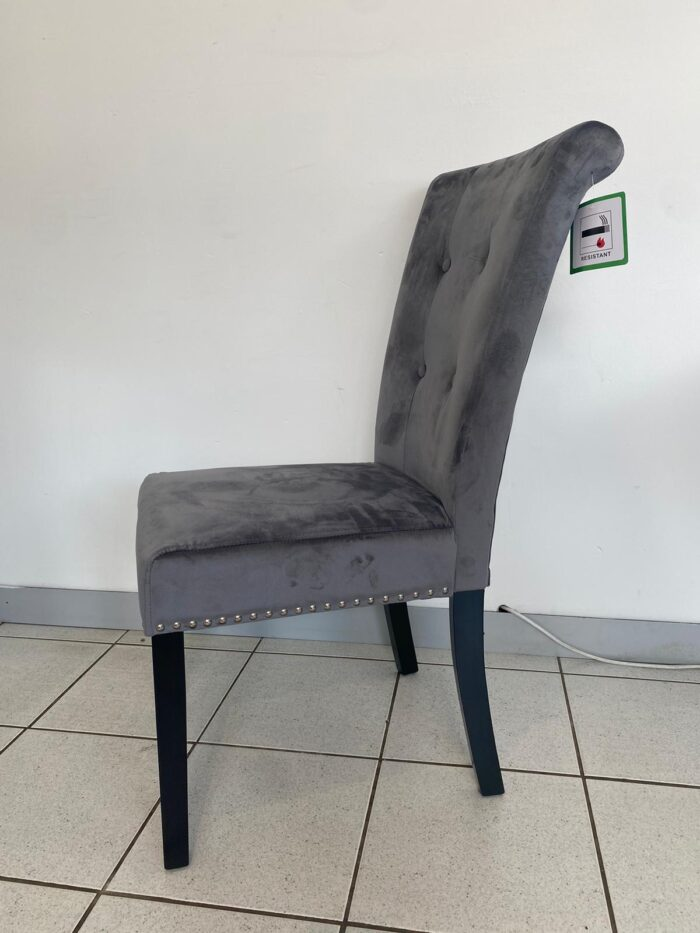 Cabrini Velvet Dining Chair With Black Legs - Grey side view