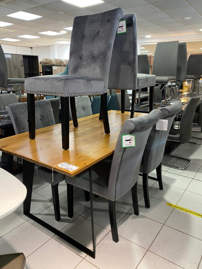 Cabrini Velvet Dining Chairs With Black Legs - Grey at Leigh-on-Sea Store