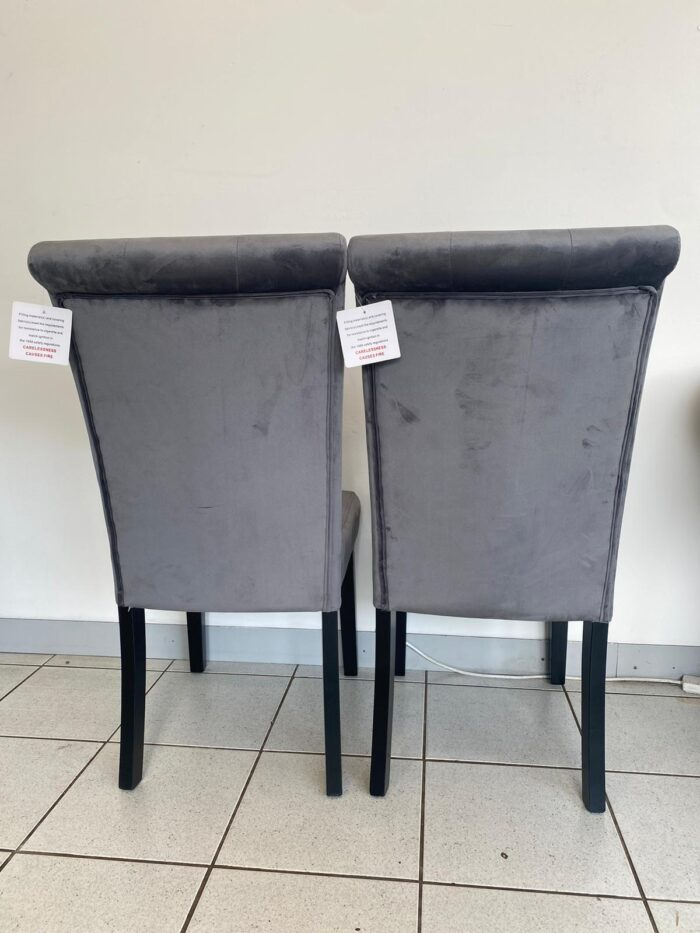 Cabrini Velvet Dining Chairs With Black Legs - Grey back view