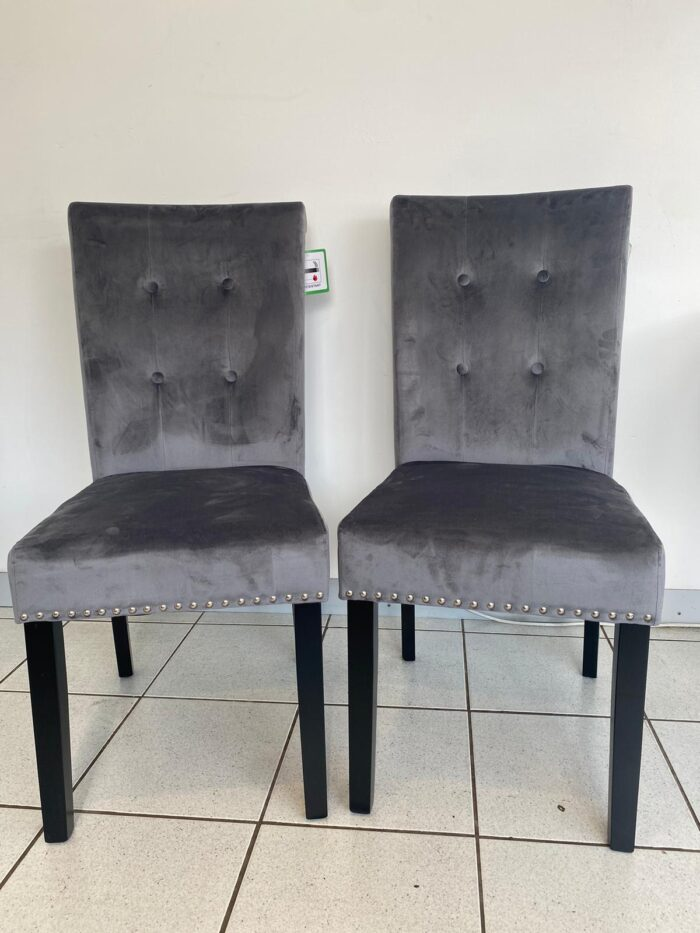 Cabrini Velvet Dining Chairs With Black Legs - Grey front view