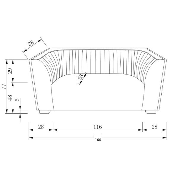Madison 2 Seater Sofa Dimensions Line Drawing