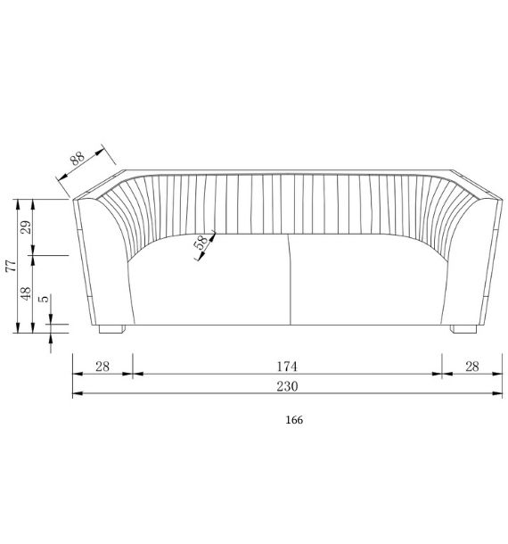 Madison 3 Seater Sofa Dimensions Line Drawing