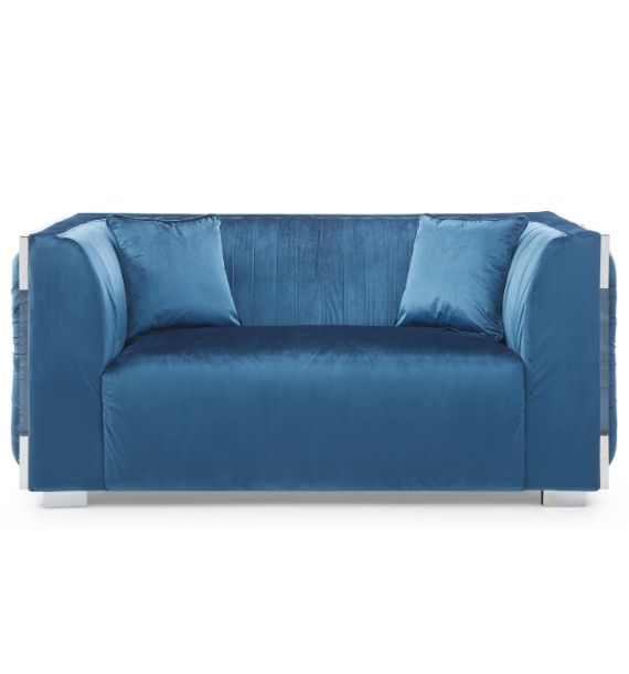 MADISON VELVET 2 SEATER MODERN SOFA - BLUE (Front View)