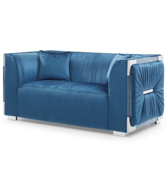 MADISON VELVET 2 SEATER MODERN SOFA - BLUE (Side View)