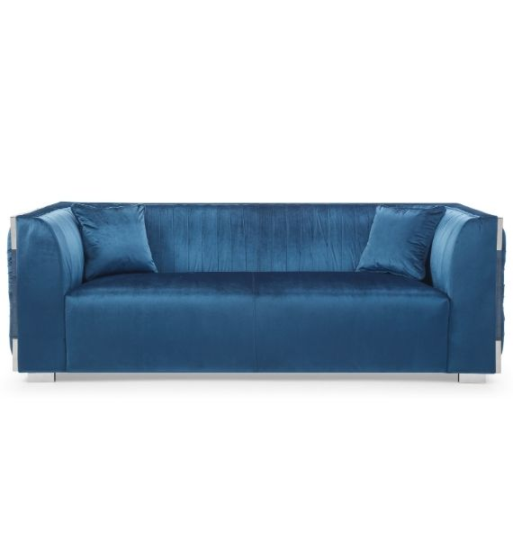 MADISON VELVET 3 SEATER MODERN SOFA - BLUE (Front View)