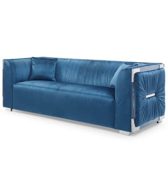 MADISON VELVET 3 SEATER MODERN SOFA - BLUE (Side View)