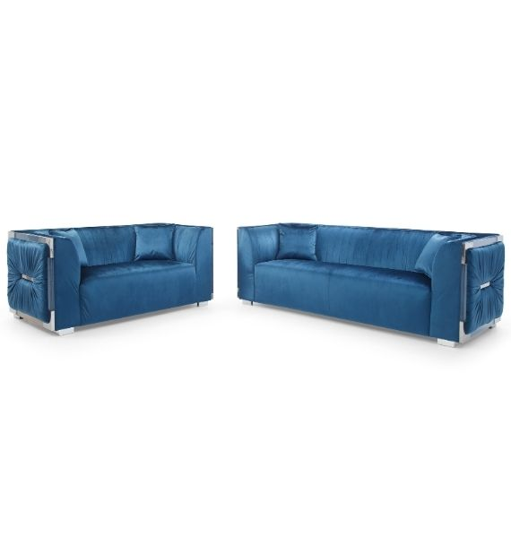 MADISON VELVET 3 SEATER & 2 SEATER SOFA SET - BLUE