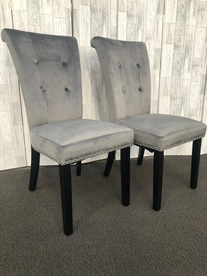 Pair of Cabrini Grey Velvet Dining Chairs With Black Legs - Front View
