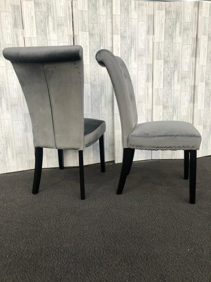 Pair of Cabrini Grey Velvet Dining Chairs With Black Legs - Side and Back Views
