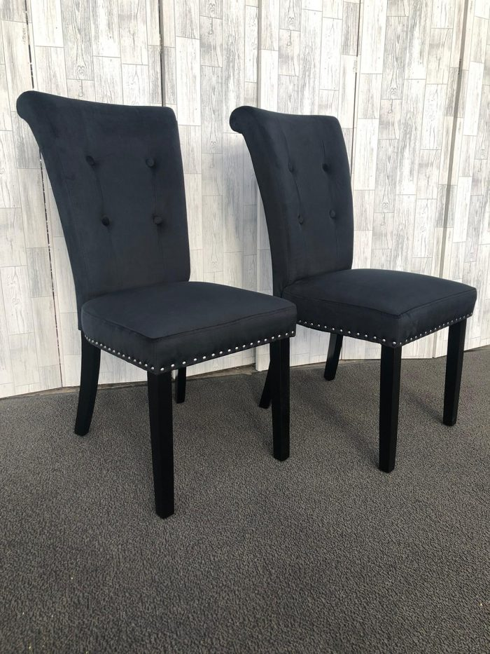 Pair of Cabrini Black Velvet Dining Chairs With Black Legs - Front View