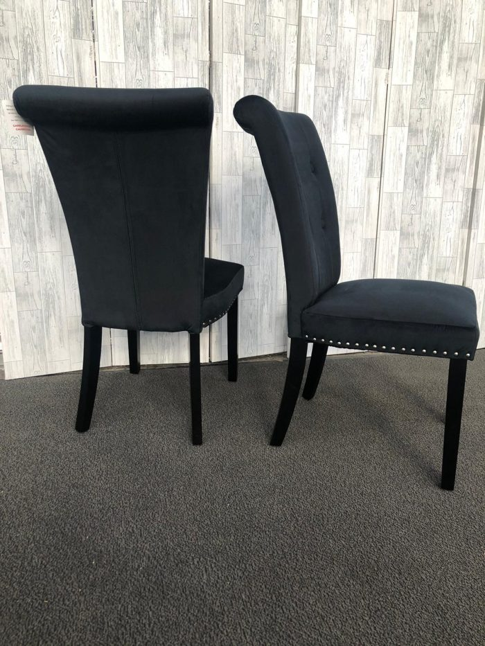 Pair of Cabrini Black Velvet Dining Chairs With Black Legs - Side and Back Views