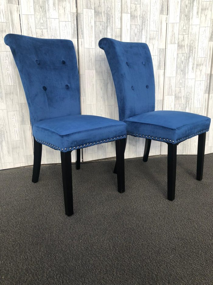 Pair of Cabrini Blue Velvet Dining Chairs With Black Legs - Front View
